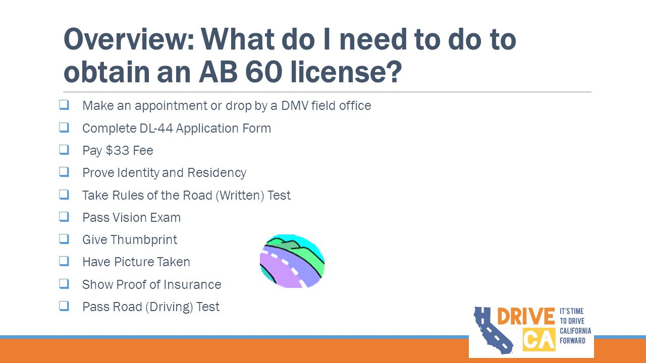 Overview: What do I need to do to obtain an AB 60 license?  Make an appointment or drop by a DMV field office  Complete DL-44 Application Form  Pay