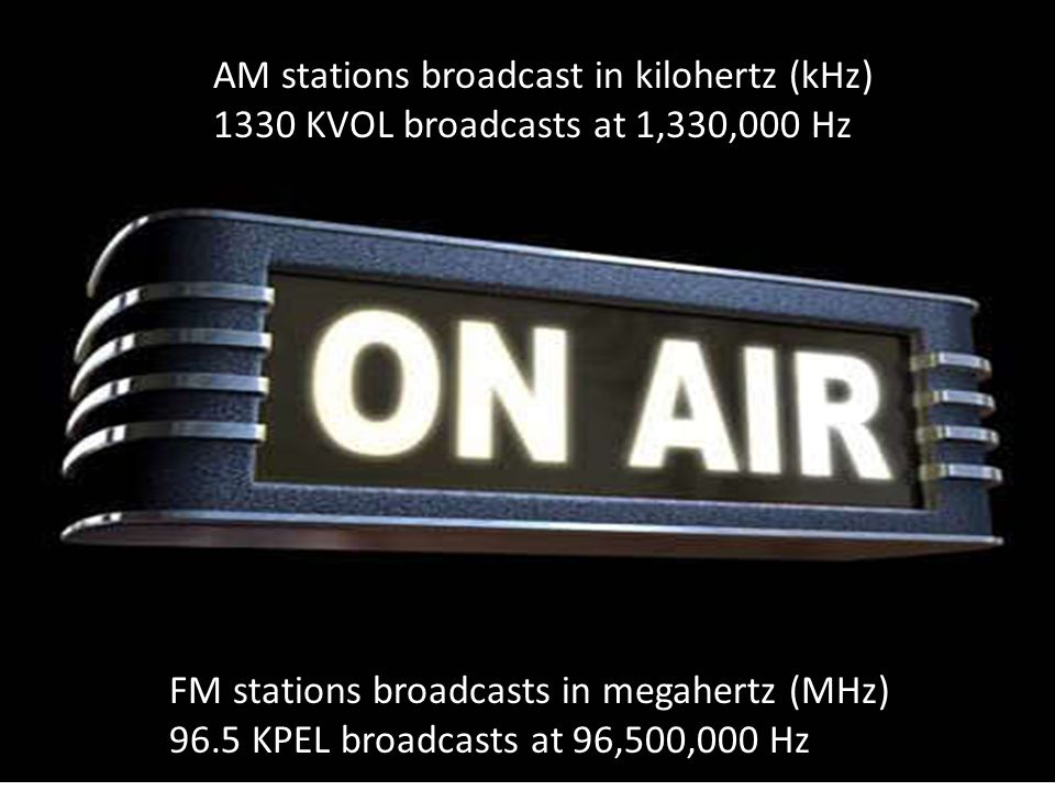 AM stations broadcast in kilohertz (kHz) 1330 KVOL broadcasts at 1,330,000 Hz FM stations broadcasts in megahertz (MHz) 96.5 KPEL broadcasts at 96,500,000 Hz