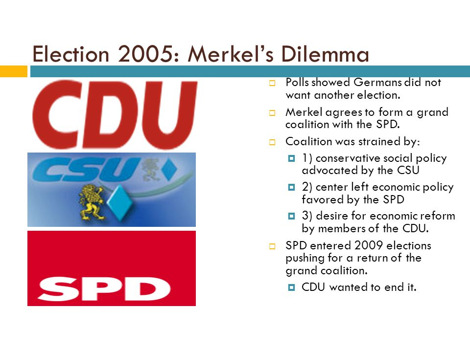 Election 2005: Merkel's Dilemma  Polls showed Germans did not want another election.  Merkel agrees to form a grand coalition with the SPD.  Coalit