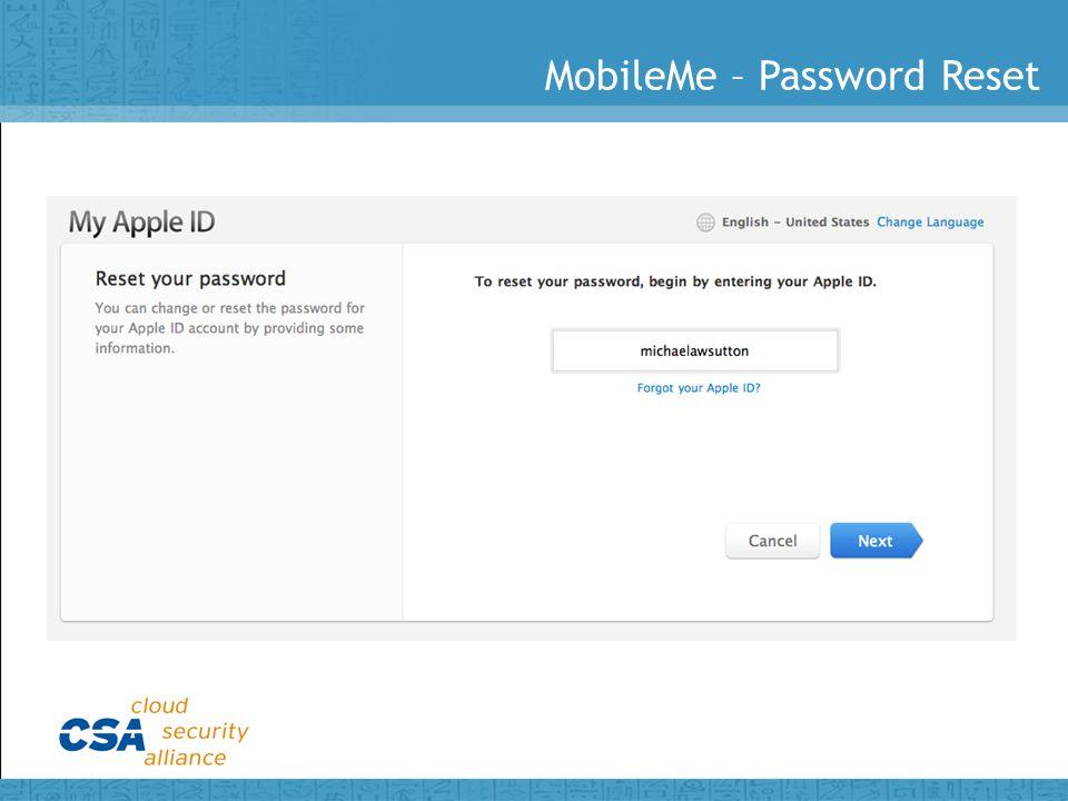 MobileMe – Password Reset