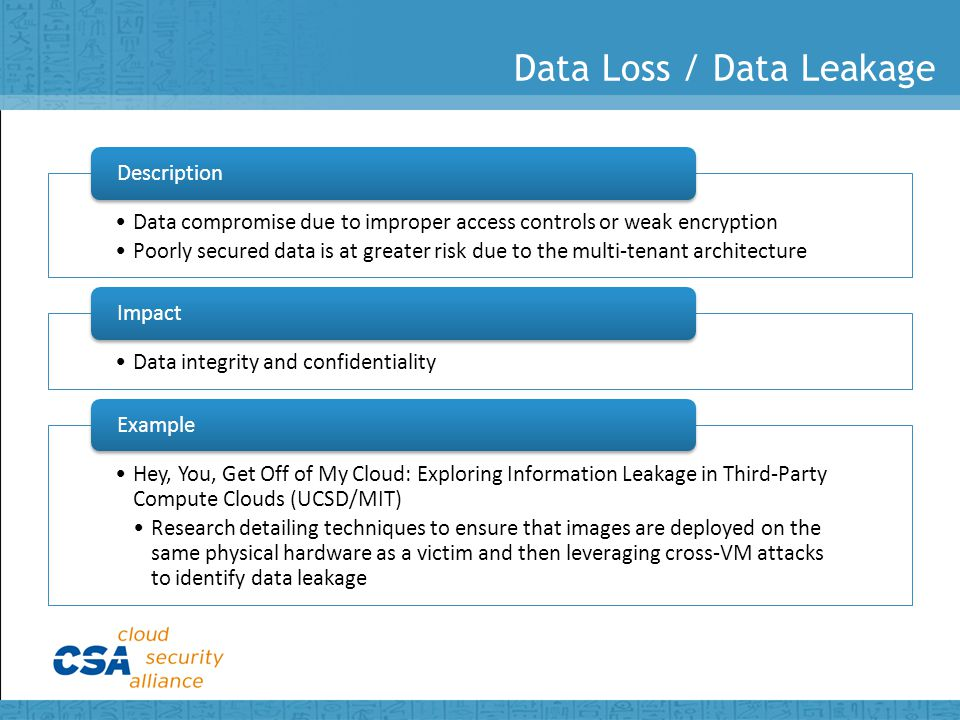 Data Loss / Data Leakage Data compromise due to improper access controls or weak encryption Poorly secured data is at greater risk due to the multi-tenant architecture Description Data integrity and confidentiality Impact Hey, You, Get Off of My Cloud: Exploring Information Leakage in Third-Party Compute Clouds (UCSD/MIT) Research detailing techniques to ensure that images are deployed on the same physical hardware as a victim and then leveraging cross-VM attacks to identify data leakage Example