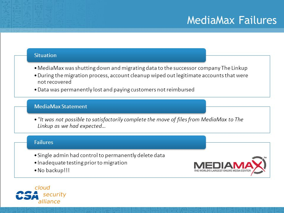 MediaMax Failures MediaMax was shutting down and migrating data to the successor company The Linkup During the migration process, account cleanup wiped out legitimate accounts that were not recovered Data was permanently lost and paying customers not reimbursed Situation It was not possible to satisfactorily complete the move of files from MediaMax to The Linkup as we had expected… MediaMax Statement Single admin had control to permanently delete data Inadequate testing prior to migration No backup!!.