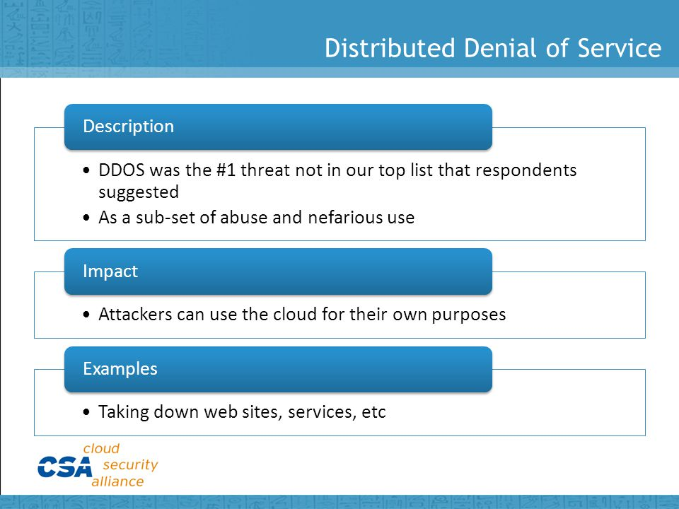 Distributed Denial of Service DDOS was the #1 threat not in our top list that respondents suggested As a sub-set of abuse and nefarious use Description Attackers can use the cloud for their own purposes Impact Taking down web sites, services, etc Examples