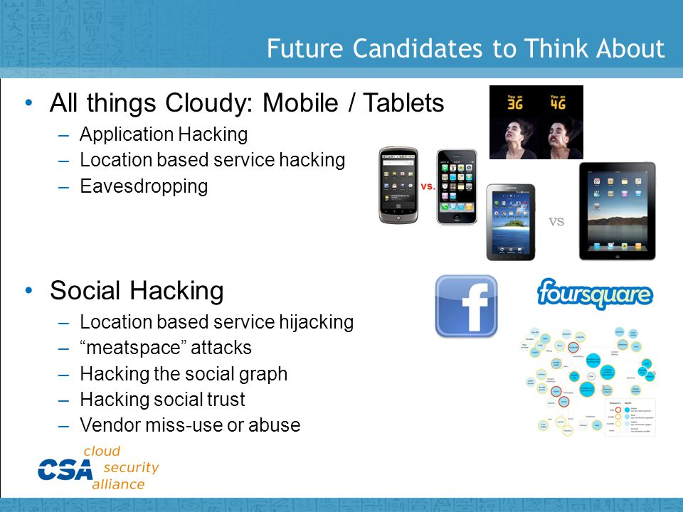 Future Candidates to Think About All things Cloudy: Mobile / Tablets –Application Hacking –Location based service hacking –Eavesdropping Social Hacking –Location based service hijacking – meatspace attacks –Hacking the social graph –Hacking social trust –Vendor miss-use or abuse