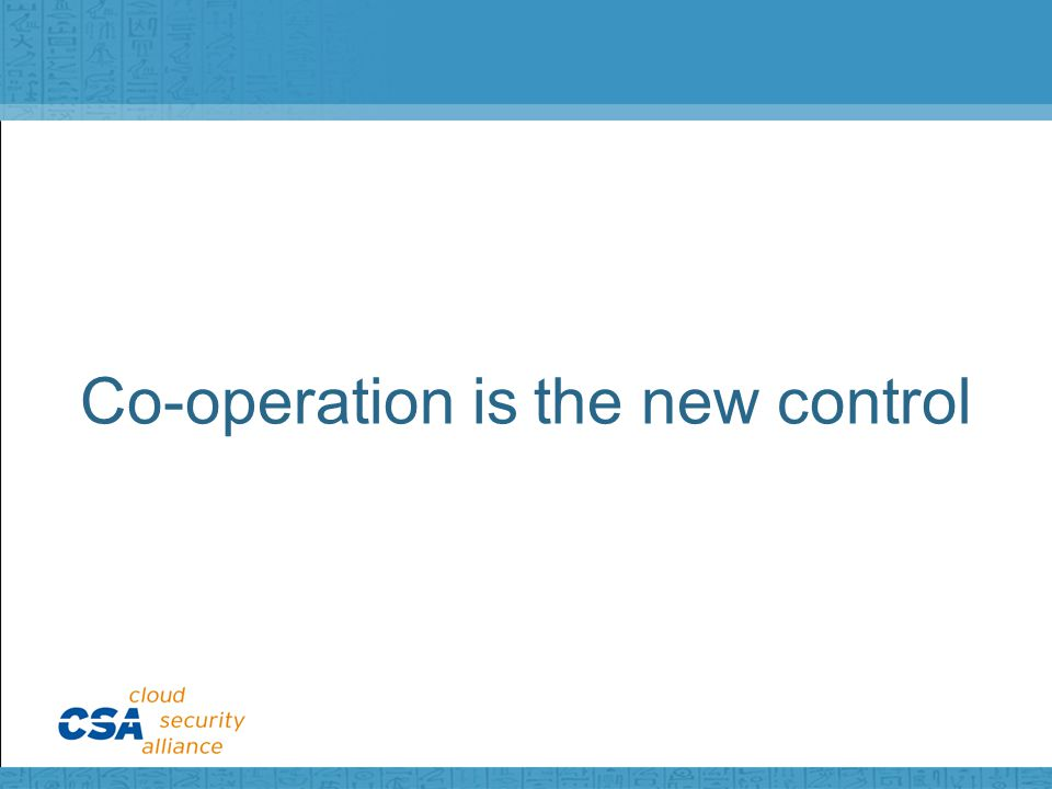 Co-operation is the new control