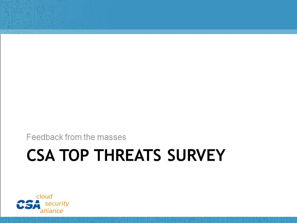 CSA TOP THREATS SURVEY Feedback from the masses