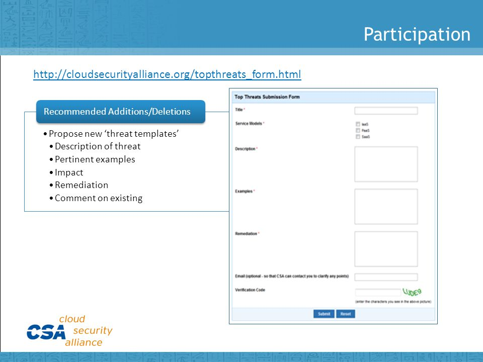 Participation Propose new 'threat templates' Description of threat Pertinent examples Impact Remediation Comment on existing Recommended Additions/Deletions http://cloudsecurityalliance.org/topthreats_form.html