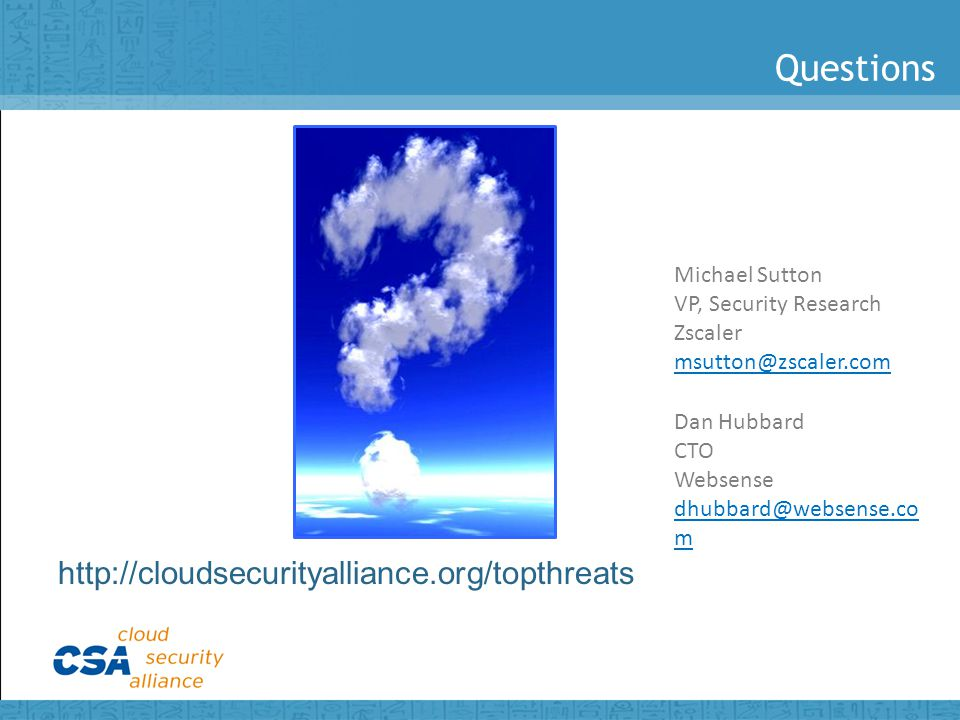 Questions http://cloudsecurityalliance.org/topthreats Michael Sutton VP, Security Research Zscaler msutton@zscaler.com Dan Hubbard CTO Websense dhubbard@websense.co m