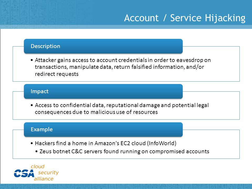Account / Service Hijacking Attacker gains access to account credentials in order to eavesdrop on transactions, manipulate data, return falsified information, and/or redirect requests Description Access to confidential data, reputational damage and potential legal consequences due to malicious use of resources Impact Hackers find a home in Amazon s EC2 cloud (InfoWorld) Zeus botnet C&C servers found running on compromised accounts Example