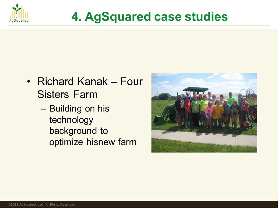 4. AgSquared case studies Richard Kanak – Four Sisters Farm –Building on his technology background to optimize hisnew farm