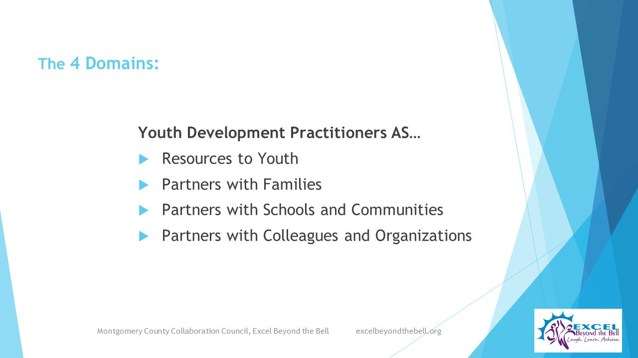 The 4 Domains: Youth Development Practitioners AS…  Resources to Youth  Partners with Families  Partners with Schools and Communities  Partners with Colleagues and Organizations Montgomery County Collaboration Council, Excel Beyond the Bell excelbeyondthebell.org