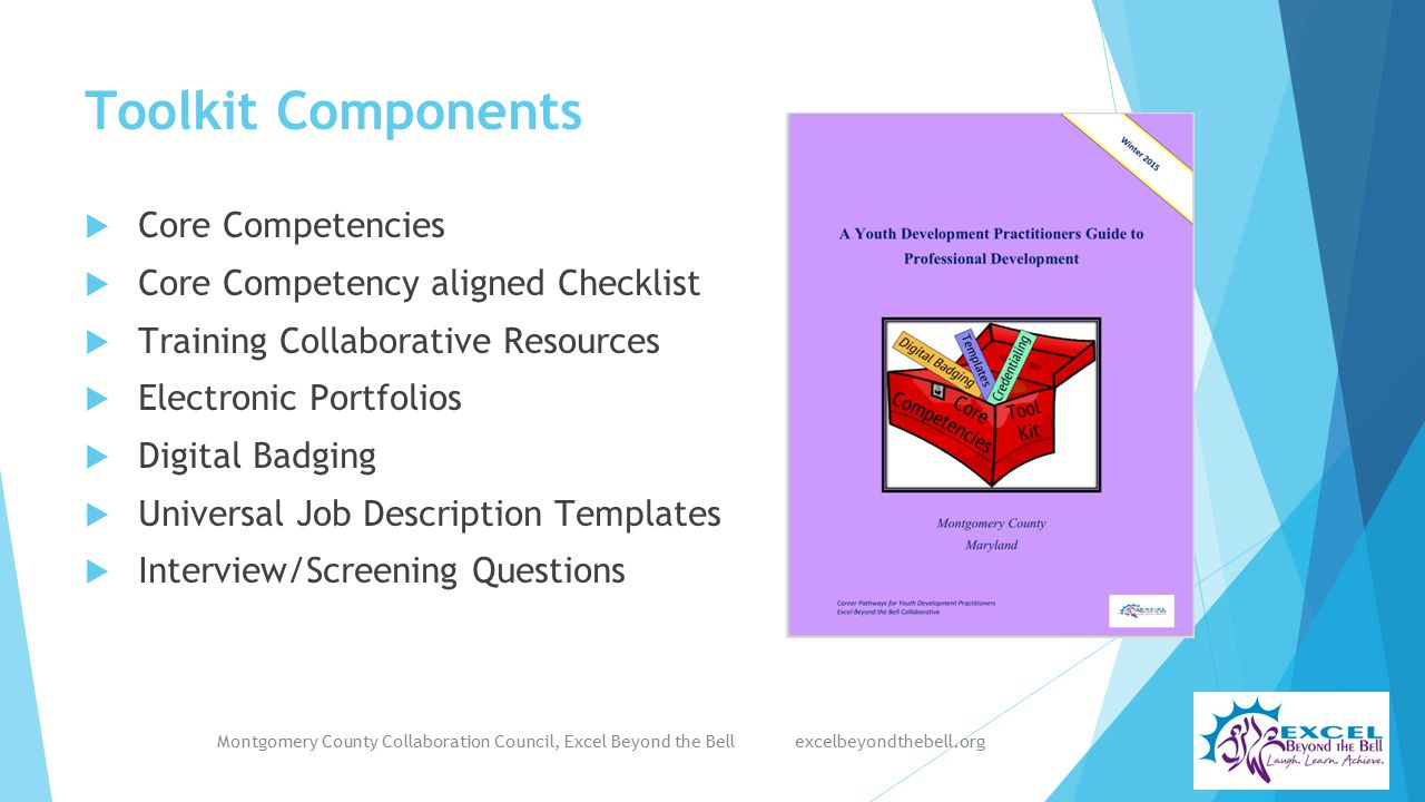Toolkit Components  Core Competencies  Core Competency aligned Checklist  Training Collaborative Resources  Electronic Portfolios  Digital Badging  Universal Job Description Templates  Interview/Screening Questions Montgomery County Collaboration Council, Excel Beyond the Bell excelbeyondthebell.org