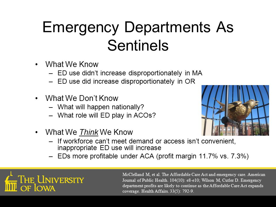 Emergency Departments As Sentinels What We Know –ED use didn't increase disproportionately in MA –ED use did increase disproportionately in OR What We Don't Know –What will happen nationally.
