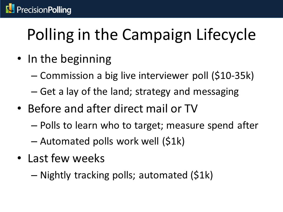 Polling in the Campaign Lifecycle In the beginning – Commission a big live interviewer poll ($10-35k) – Get a lay of the land; strategy and messaging Before and after direct mail or TV – Polls to learn who to target; measure spend after – Automated polls work well ($1k) Last few weeks – Nightly tracking polls; automated ($1k)