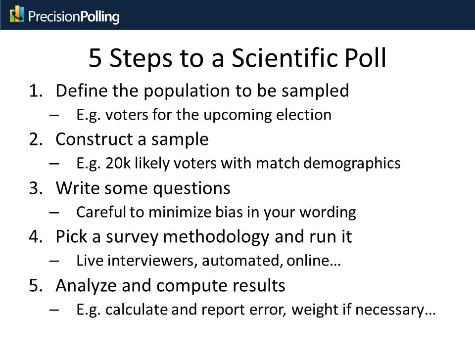 5 Steps to a Scientific Poll 1.Define the population to be sampled – E.g.