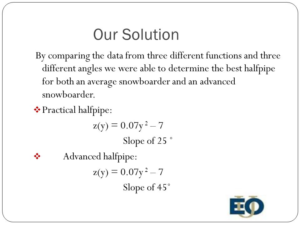 Our Solution By comparing the data from three different functions and three different angles we were able to determine the best halfpipe for both an average snowboarder and an advanced snowboarder.