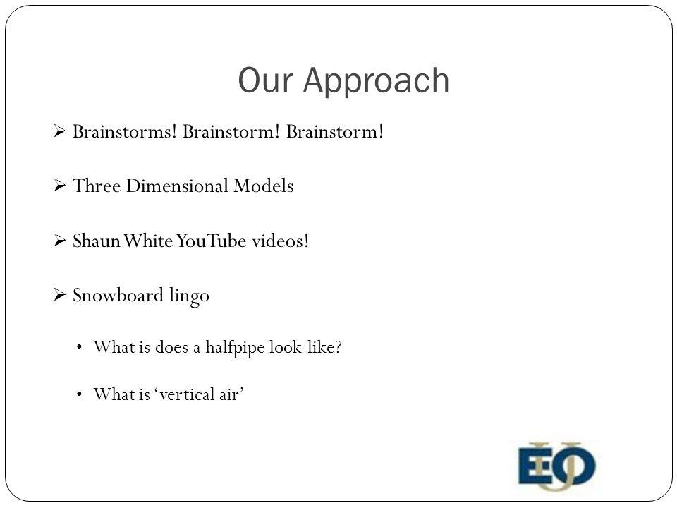 Our Approach  Brainstorms. Brainstorm. Brainstorm.