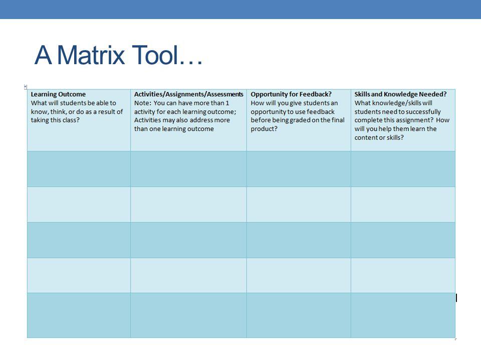 A Matrix Tool…