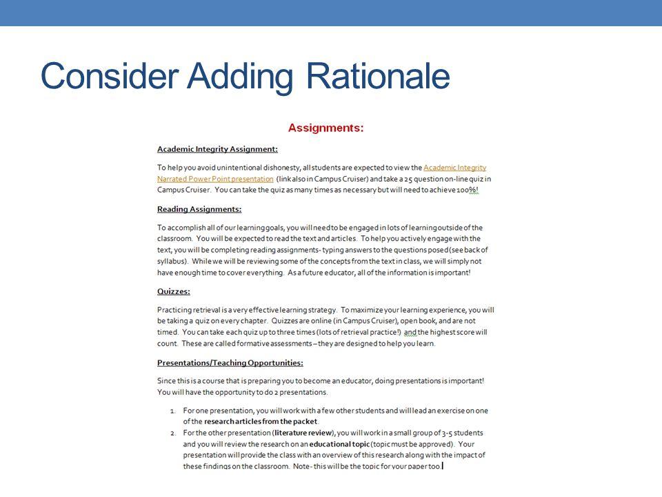 Consider Adding Rationale