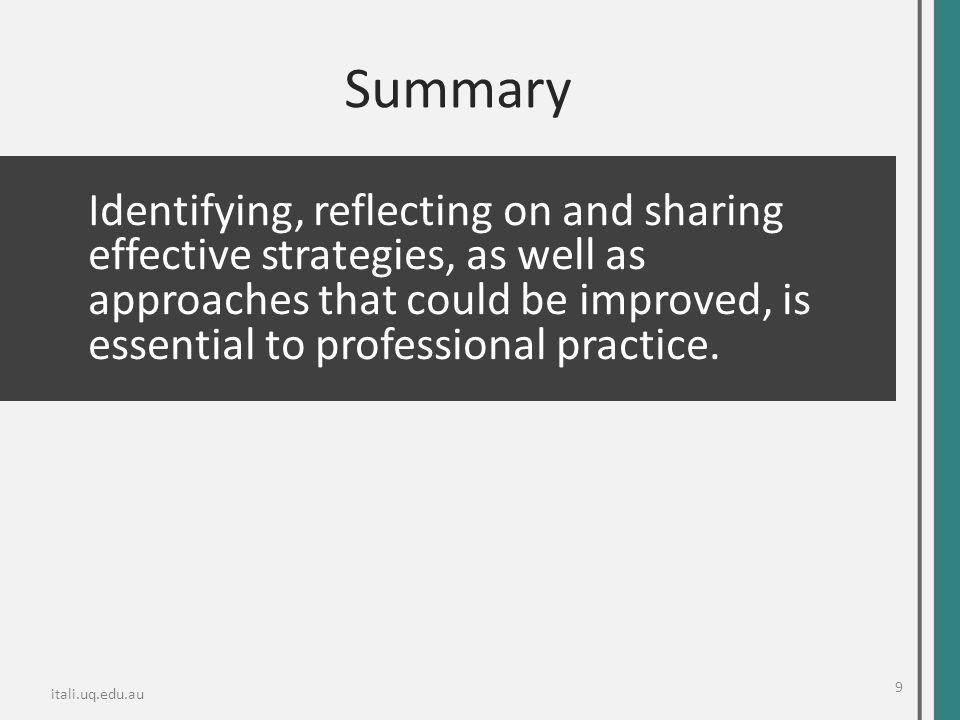 Summary Identifying, reflecting on and sharing effective strategies, as well as approaches that could be improved, is essential to professional practi