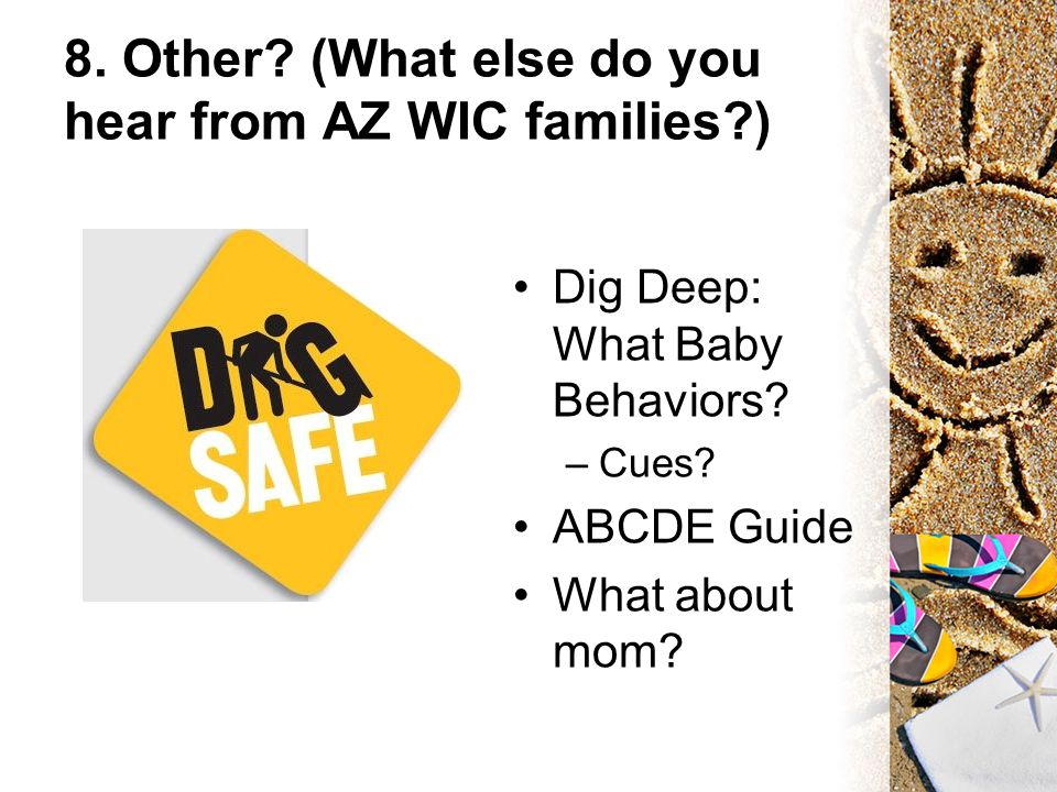 8. Other? (What else do you hear from AZ WIC families?) Dig Deep: What Baby Behaviors? –Cues? ABCDE Guide What about mom?