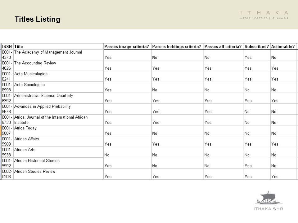 Titles Listing