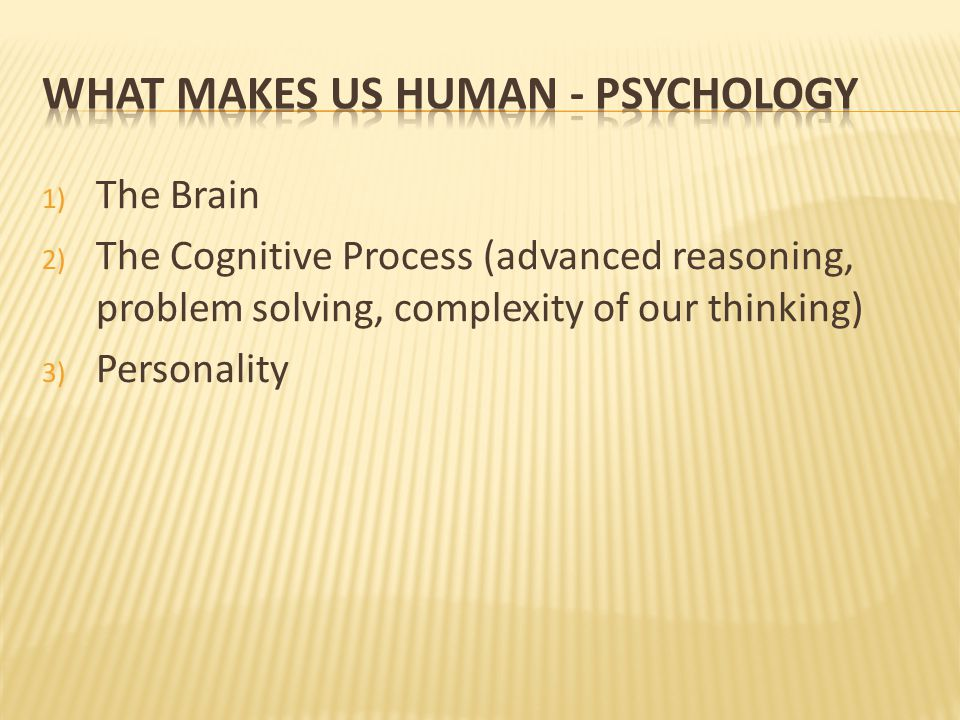 1) The Brain 2) The Cognitive Process (advanced reasoning, problem solving, complexity of our thinking) 3) Personality