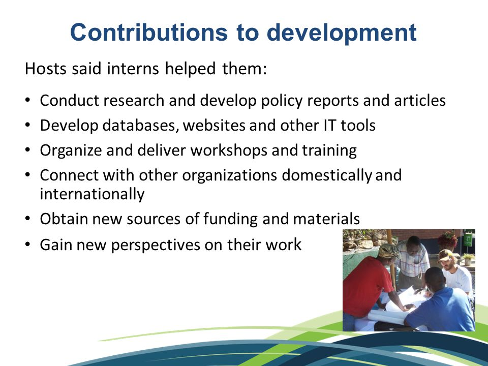 Contributions to development