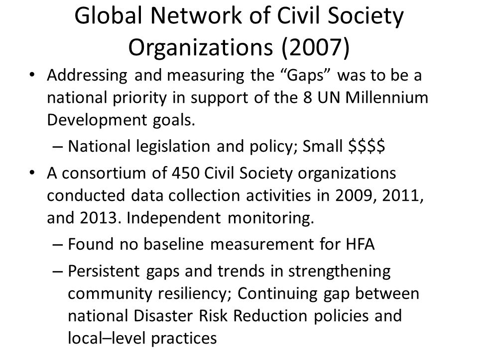 "Global Network of Civil Society Organizations (2007) Addressing and measuring the ""Gaps"" was to be a national priority in support of the 8 UN Millenni"