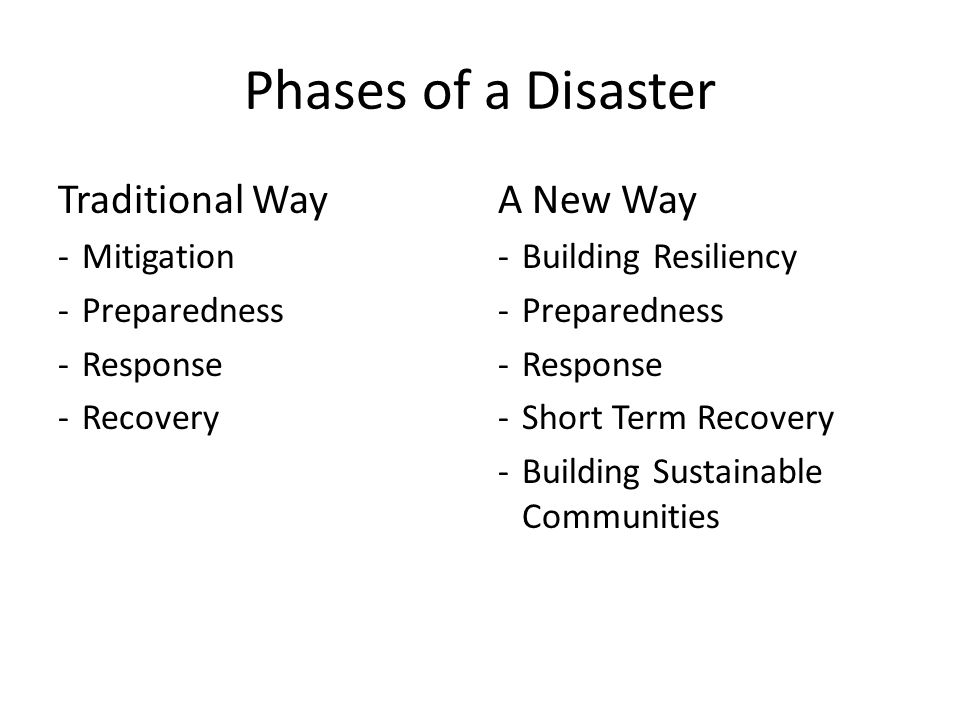 Phases of a Disaster Traditional Way -Mitigation -Preparedness -Response -Recovery A New Way -Building Resiliency -Preparedness -Response -Short Term