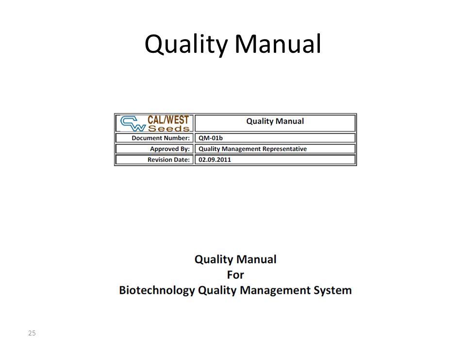 Quality Manual 25