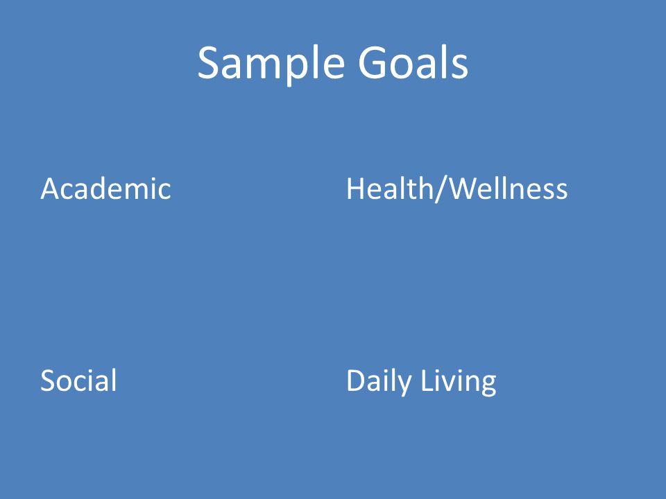 Sample Goals Academic Social Health/Wellness Daily Living