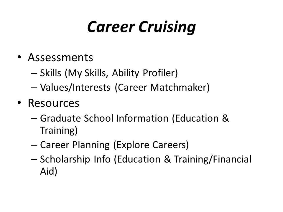 Career Cruising Assessments – Skills (My Skills, Ability Profiler) – Values/Interests (Career Matchmaker) Resources – Graduate School Information (Edu