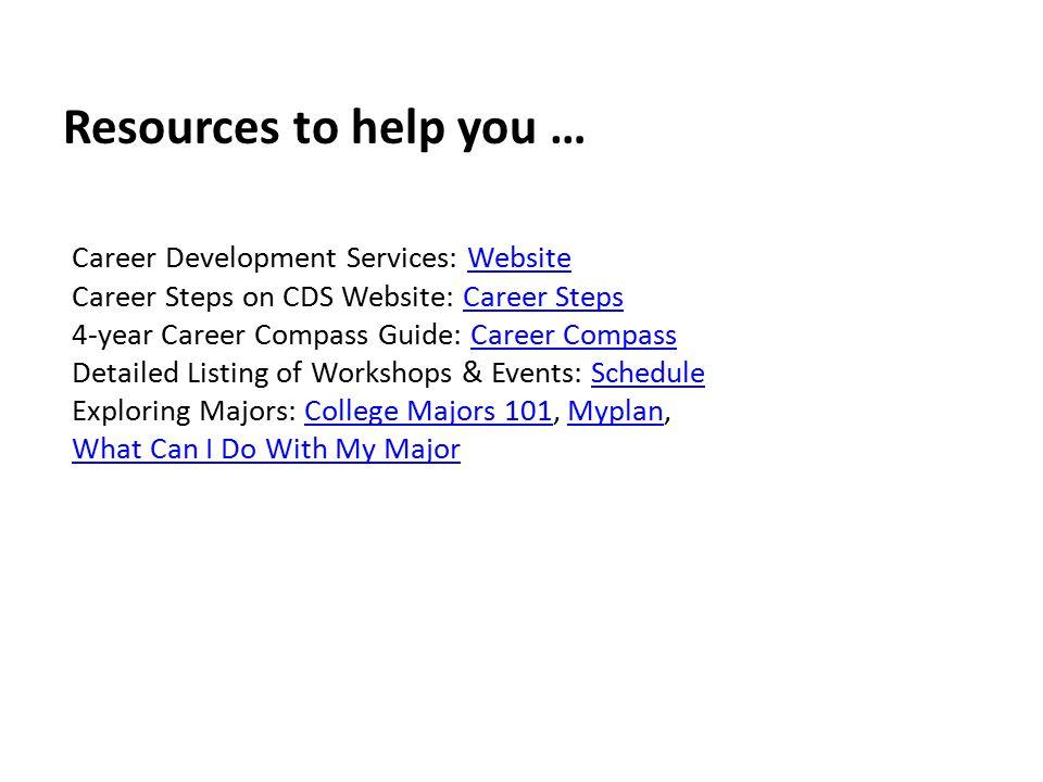 Career Development Services: WebsiteWebsite Career Steps on CDS Website: Career StepsCareer Steps 4-year Career Compass Guide: Career CompassCareer Co