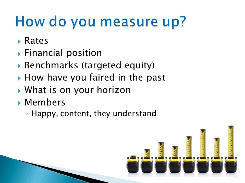  Rates  Financial position  Benchmarks (targeted equity)  How have you faired in the past  What is on your horizon  Members ◦ Happy, content, they understand 11