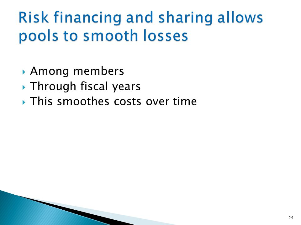  Among members  Through fiscal years  This smoothes costs over time 24