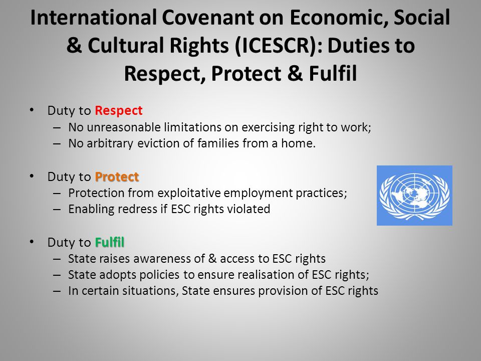 International Covenant on Economic, Social & Cultural Rights (ICESCR): Duties to Respect, Protect & Fulfil Duty to Respect – No unreasonable limitations on exercising right to work; – No arbitrary eviction of families from a home.