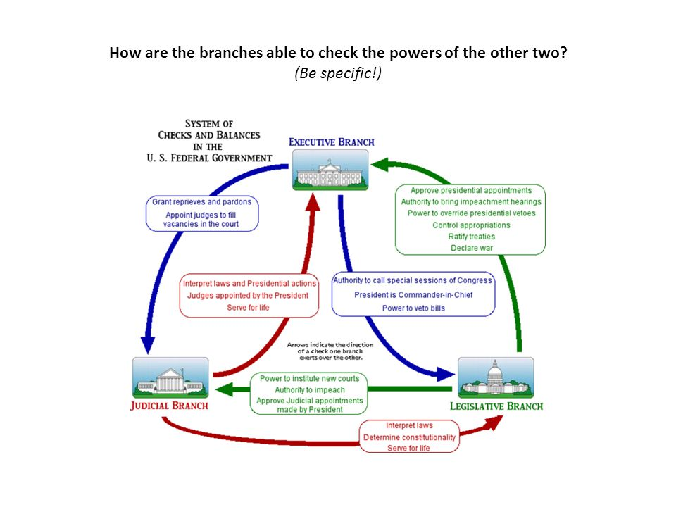 How are the branches able to check the powers of the other two? (Be specific!)