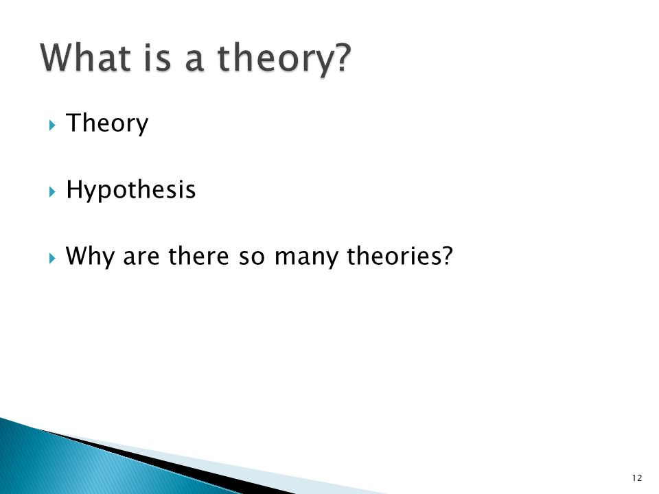  Theory  Hypothesis  Why are there so many theories? 12