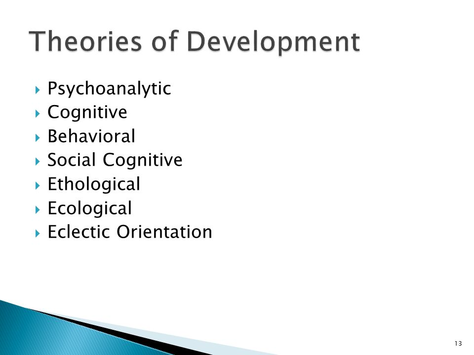  Psychoanalytic  Cognitive  Behavioral  Social Cognitive  Ethological  Ecological  Eclectic Orientation 13