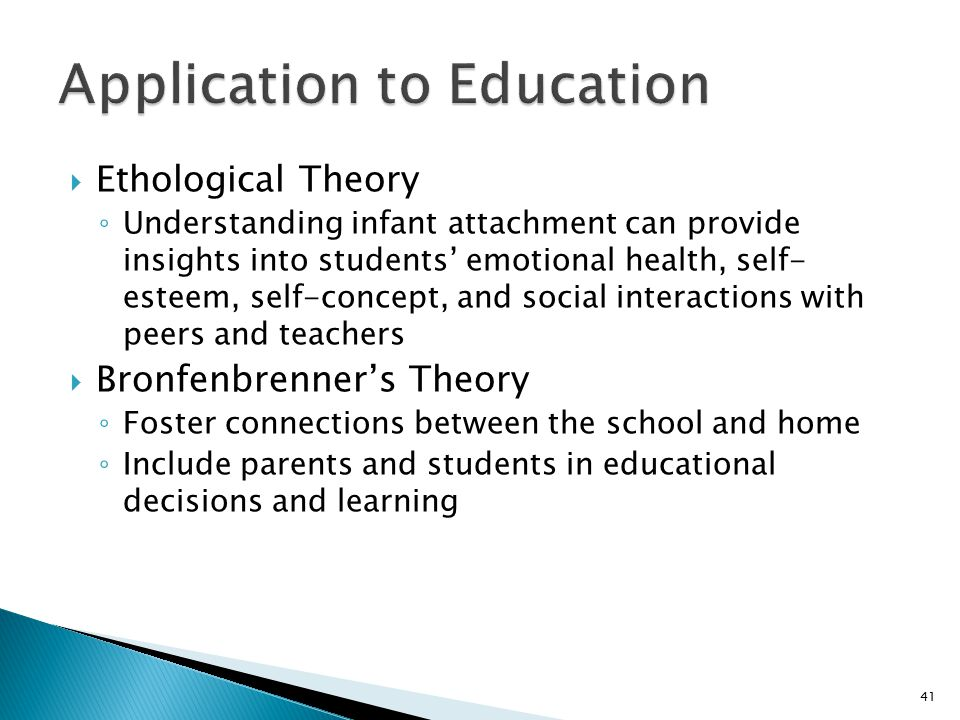  Ethological Theory ◦ Understanding infant attachment can provide insights into students' emotional health, self- esteem, self-concept, and social interactions with peers and teachers  Bronfenbrenner's Theory ◦ Foster connections between the school and home ◦ Include parents and students in educational decisions and learning 41