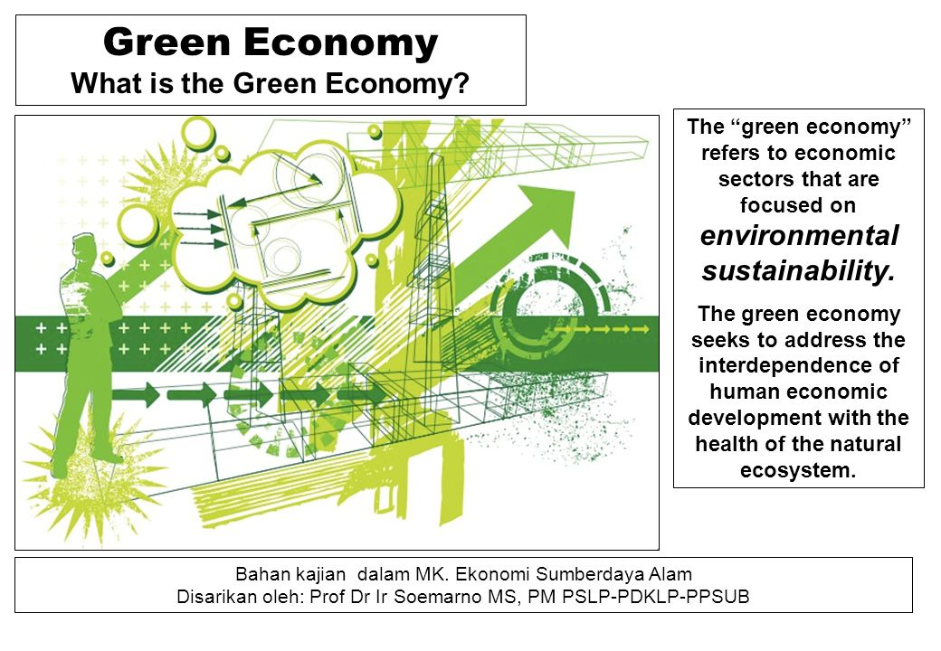 """Green Economy What is the Green Economy? The """"green economy"""" refers to economic sectors that are focused on environmental sustainability. The green ec"""