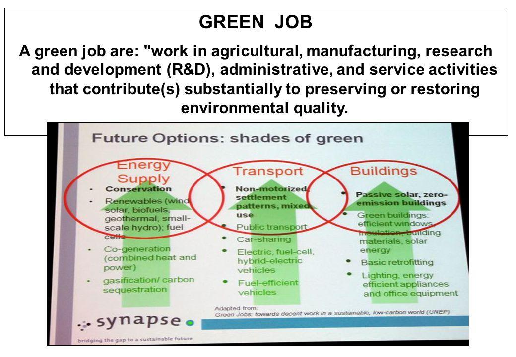 GREEN JOB A green job are: