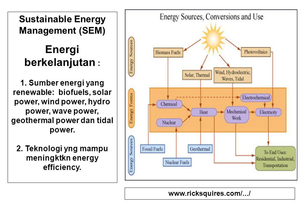 Sustainable Energy Management (SEM) Energi berkelanjutan : 1. Sumber energi yang renewable: biofuels, solar power, wind power, hydro power, wave power
