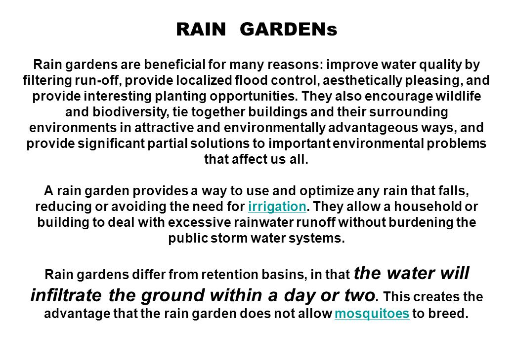 RAIN GARDENs Rain gardens are beneficial for many reasons: improve water quality by filtering run-off, provide localized flood control, aesthetically