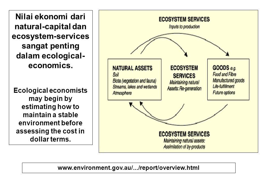 Nilai ekonomi dari natural-capital dan ecosystem-services sangat penting dalam ecological- economics. Ecological economists may begin by estimating ho