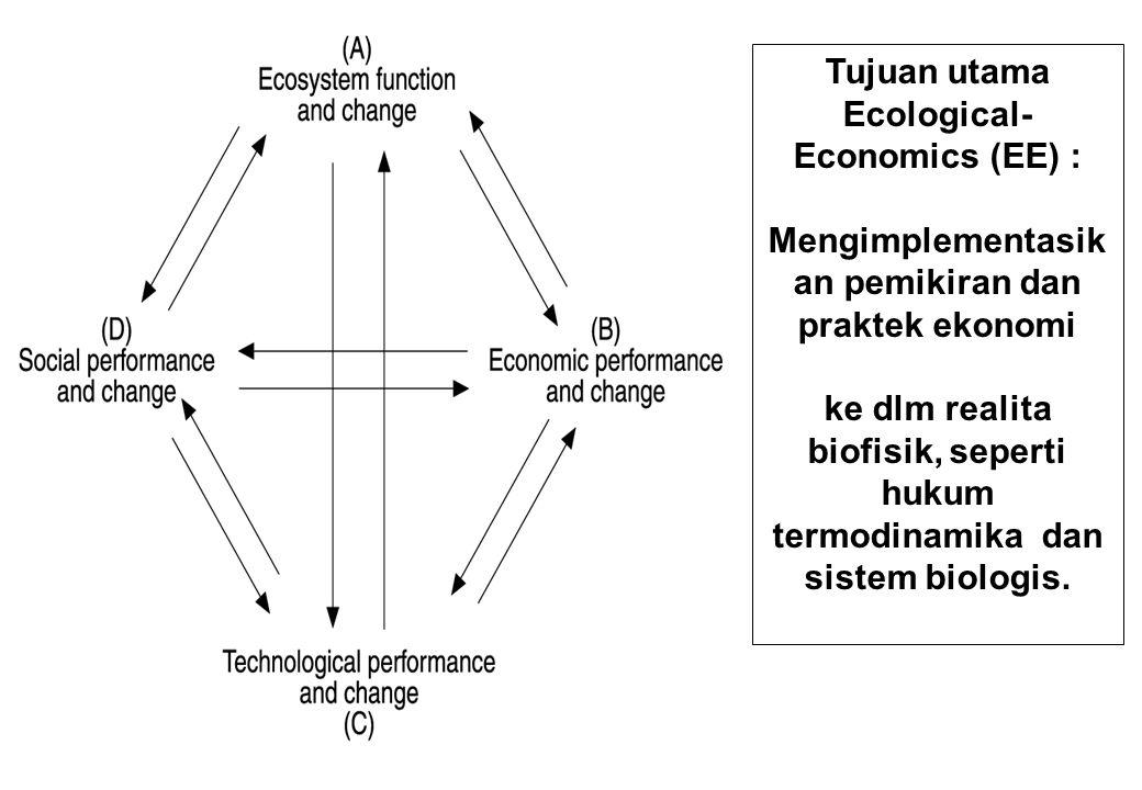 Tujuan utama Ecological- Economics (EE) : Mengimplementasik an pemikiran dan praktek ekonomi ke dlm realita biofisik, seperti hukum termodinamika dan