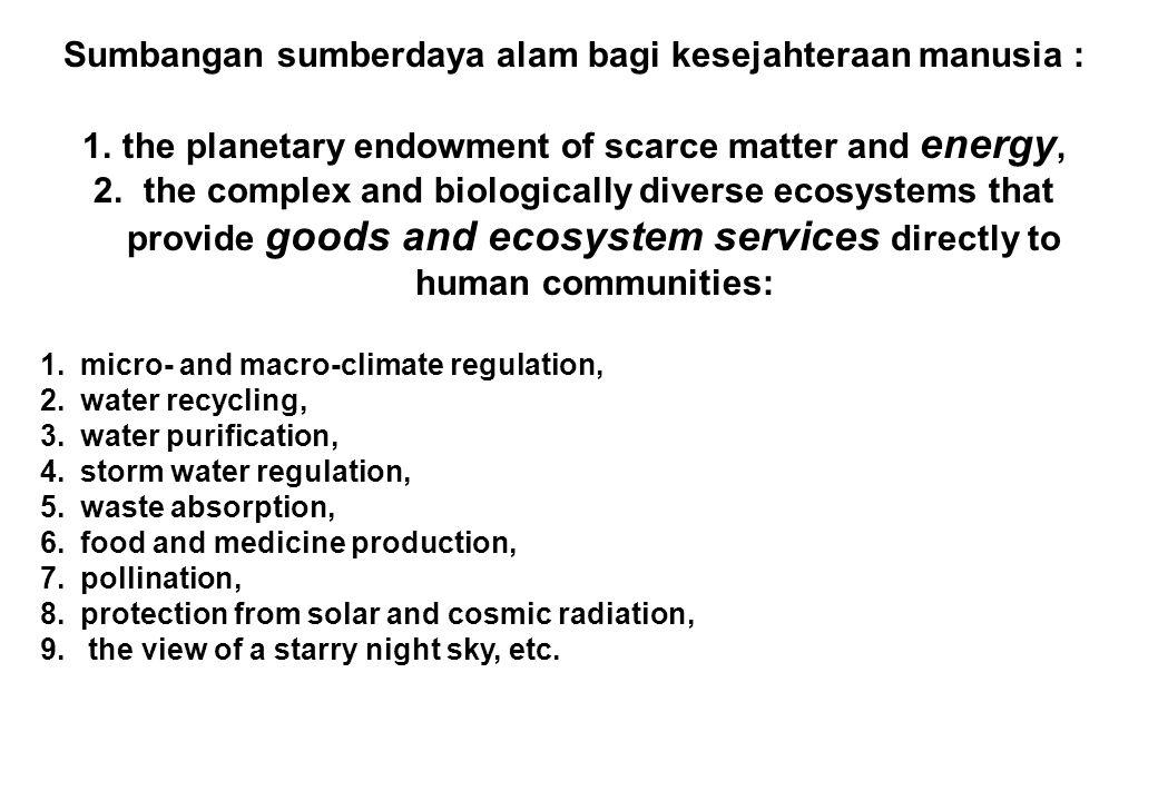 Sumbangan sumberdaya alam bagi kesejahteraan manusia : 1.the planetary endowment of scarce matter and energy, 2. the complex and biologically diverse