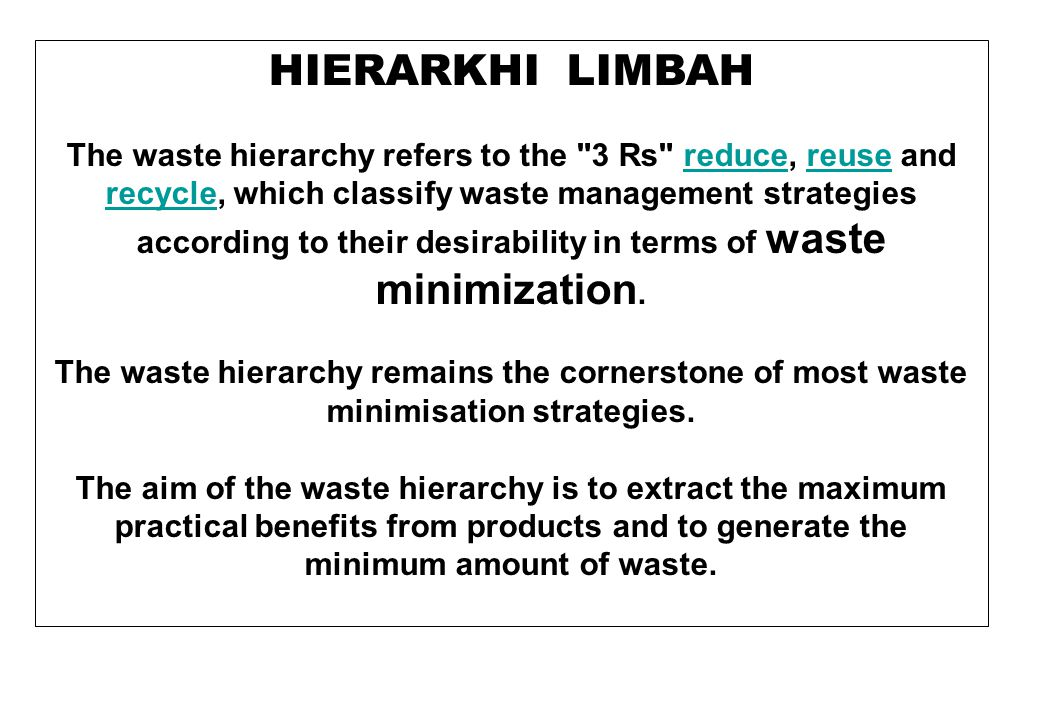 HIERARKHI LIMBAH The waste hierarchy refers to the