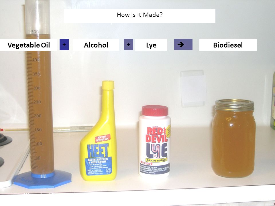 Vegetable OilAlcoholLyeBiodiesel ++  How Is It Made.